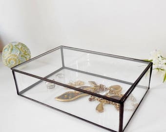 """Glass Box, Wedding Ring Box 6"""" x 8"""" x 2"""", Clear Glass Ring Bearer, Engagement Ring Box, Glass Box With a Hinged Lid."""