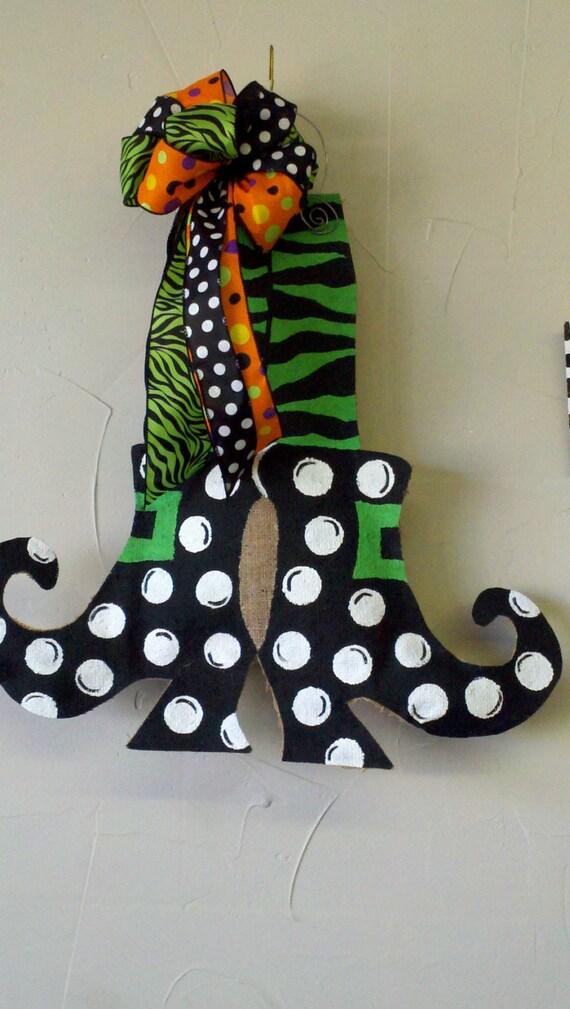 & Burlap Door Hanger Halloween Cute Witch Feet Burlap Zebra
