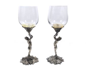 """Vintage Toasting Goblets with Greek Adonis Figural Stems, 8.5"""" Tall Pewter Wine Glass Set by Carmel Studios & Baker Art Foundry"""