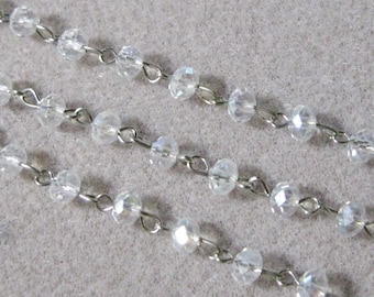 """One Meter 39.5"""" Faceted Clear AB Rondelle Glass 4mm x 6mm Beaded Rosary Link Chain Silver 970"""