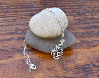 Silver Filigree Necklace, Disc Pendant, Sterling Silver Necklace, Lightweight Necklace, Simple Necklace, Delicate, Dainty.