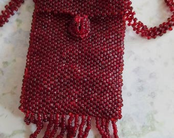 Vintage Necklace Woven Seed Bead Accessory Change Purse Cranberry Red