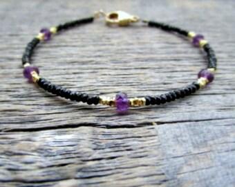 Gold Amethyst Bracelet, Black Spinel Bracelet, Gold Bead Bracelet, Gemstone Bracelet, February Birthstone Bracelet, Stack Bracelet