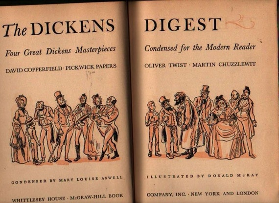 The Dickens Digest + Charles Dickens, Condensed by Mary Louise Aswell + Donald McKay + 1943 + Vintage Book