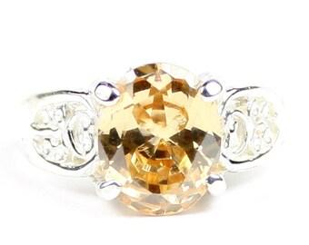 Champagne CZ, 925 Sterling Silver Ladies Ring, SR369