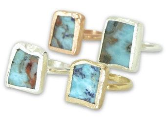 Raw Larimar Ring, Larimar Ring, Stacking rings, Stackable Stone Ring, Raw, Raw Stone Jewelry, Gemstone Ring, Larimar Gold Ring, Silver, Gold