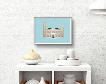 Algiers Courthouse Art Print (8x10), Historic West Bank New Orleans Architecture