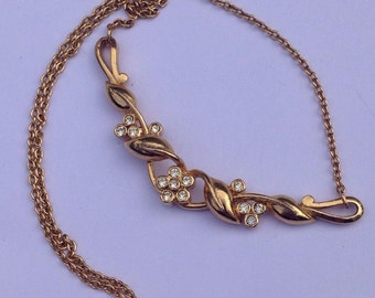 Vintage Dainty Gold Plated Rhinestone Choker - Bridal Jewellery