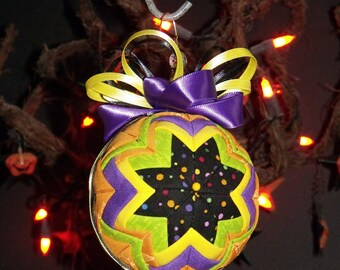 "6"" Diameter Christmas Quilted Fabric Ball Ornament - tree decoration - Fabric Ball - Quilted Ball - Home Decor - Halloween  Ball"