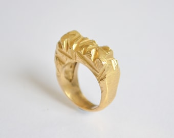Unique Avant Garde Ring, Unusual Statement Ring, 14k Yellow Gold Ring, Chunky Ring For Women, Bohemian Designer Ring, Gothic Fashion Ring