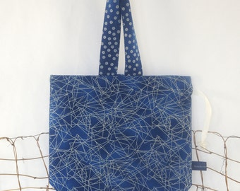 Knitting Bag: Blue Silver - Drawstring  Project Tote Bag