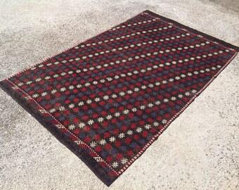 "Embroidered Kilim rug, Geometric rug, 89"" X 55"", Vintage  Turkish kilim rug, area rug, kilim rug, kelim rug, vintage rug, bohemian rug, 708"