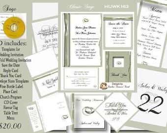 Delux Classic Sage Ribbon Wedding Invitation Kit on CD
