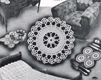 Vintage Crochet Pattern, Star Wheel motif design, crochet home decor, 4 pages, Instant pdf Download, Digital download