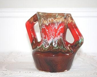 Vallauris Vase, peint à la main, goutte à goutte peint émail, Vase lave, Français décoration intérieure, décoration rétro, Made in France