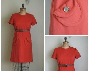 1960's Burnt Marmalade Pocket Dress// Belted// Shift
