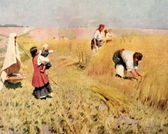 Vintage Russian Pimonenko Print Harvest in Ukraine, Russian Art, Ukraine, Harvest, Rural Landscape, Painting, 60s ARt Print, Pimonenko, Art