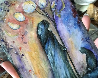 5x7 One Art Print from my Original Painting Male Witch Cloak Victorian Witchcraft Moon Phases Goddess Faerie Halloween Gothic Terri Foss
