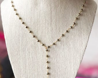 Lariat Necklace with Pyrite Chain