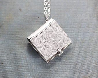 Sterling Silver Book Locket Necklace, Rare Rectangular Four Photo Locket Pendant - Charming