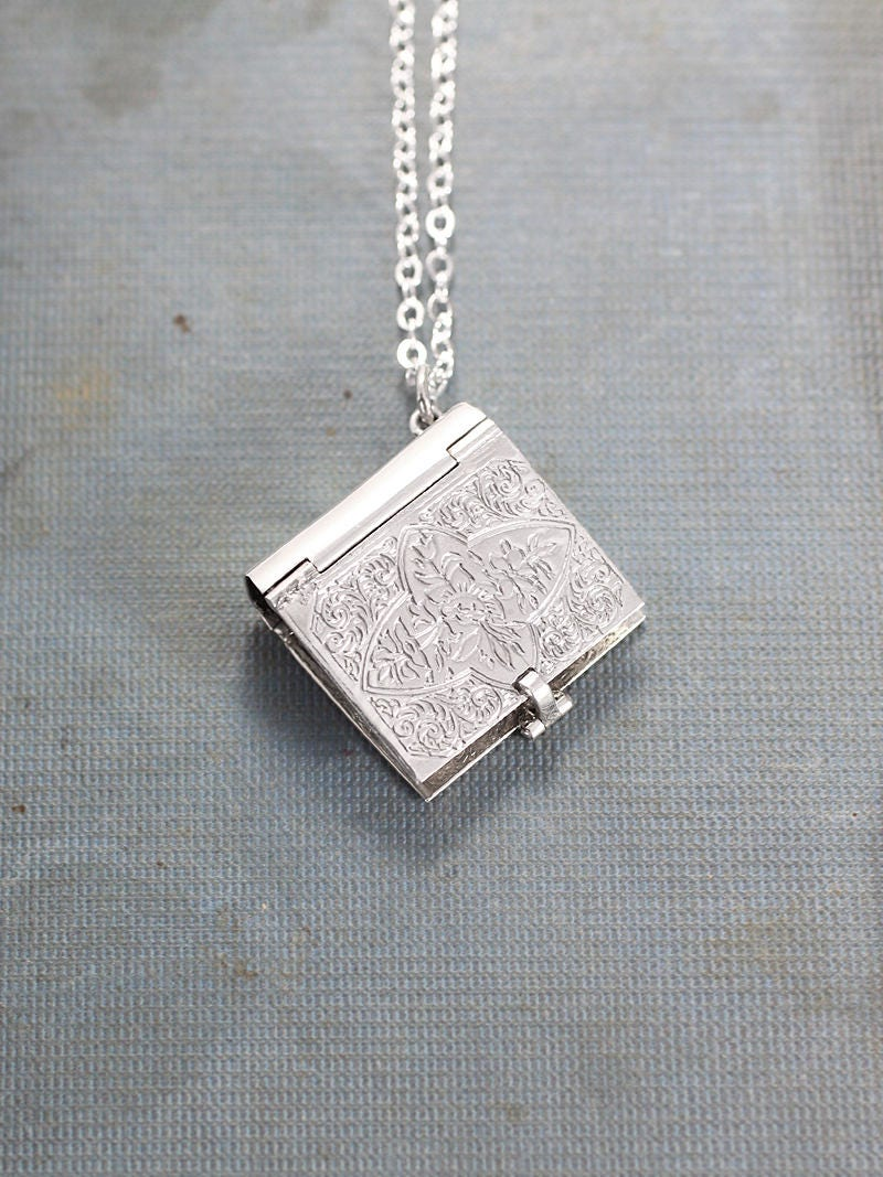 Sterling silver book locket necklace rare rectangular four photo sterling silver book locket necklace rare rectangular four photo locket pendant charming aloadofball Choice Image