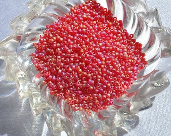 Ruby Red Seed Beads, Rainbow Finish