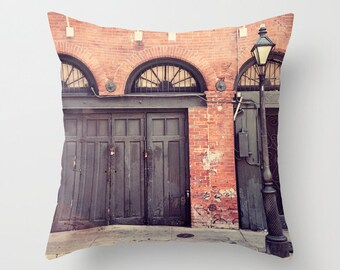 new orleans photography throw pillow, french quarter, architecture, decorative pillow cover, new orleans decor