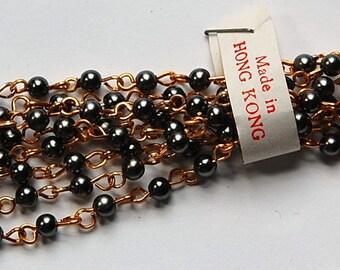 Vintage Gunmetal Gray Plastic Beaded Chain Gold Links Hong Kong chn020H