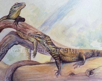 Original Watercolor Komodo Dragon Babies Painting (12x18inch)