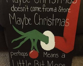 The Grinch Christmas 16x20 Hand Painted Canvas