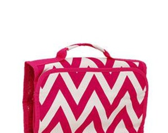 Machine Embroidered Tri-Fold Cosmetic Bag.  Pink Chevron pattern with Pink trim
