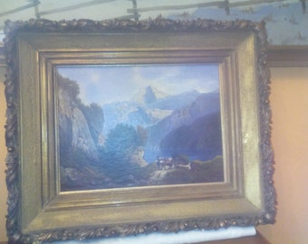 Oil painting Mountain Lake 1917 signed Reichert 63x52cm in stucco frame