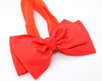 Orange Baby Headband , Orange Big Bow Headband, Orange Baby Headband, Newborn Headband, Orange Baby Hairband, Toddler Bow Headband, 1105