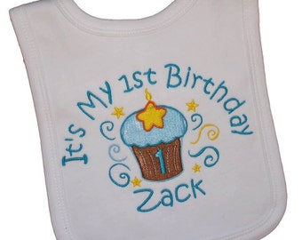 Personalized Embroidered 1st Birthday Bib