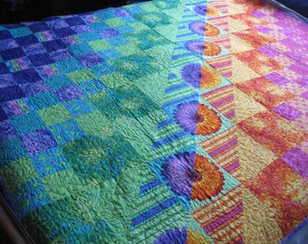 Handmade Lap quilt, sunrise and dusk, patchwork, quilt, throw, art quilt, heirloom, charity