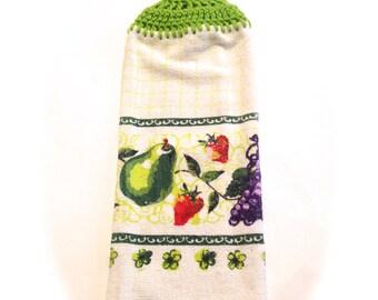 Karierte Obst Handtuch mit Limelight grün gehäkelte Top