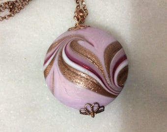Italian Murano Aventurine large Pink pendant necklace