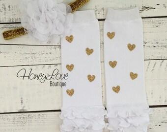 Gold glitter heart ruffle bottom leg warmers stockings leggings, white flower headband bow, newborn infant baby toddler little girl