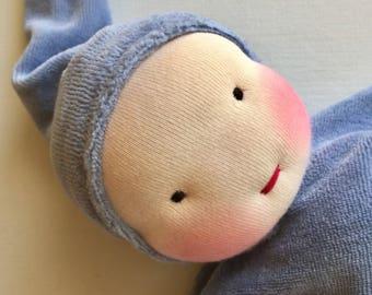 denim blue Waldorf blanket doll  Waldorf toy, newborn gift, baby shower present