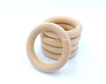 70mm Natural Wood Teething Rings,  Natural Unfinished Round Wood Teething Rings,  Natural Wooden Rings, Wood Circle Teething Ring