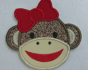 Sock Monkey Girl Fabric Embroidered Iron On Applique Patch Ready to Ship