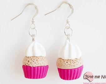 Mini Food Colorful Cupcakes Earrings with Whipped Cream, Cupcake Hooks, Cupcake Jewelry, Miniature Food Jewelry