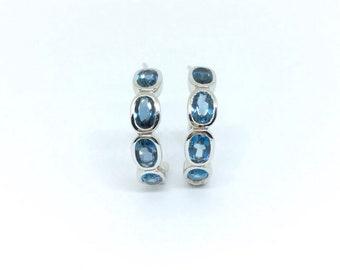 Hoop Earrings London Blue Topaz in 925 sterling silver