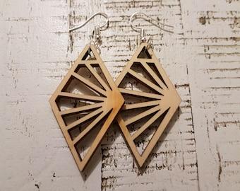 Wooden Diamond Sunburst earrings