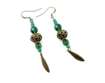Hippie chic bronze emerald green crystal earrings Swarovski brass Bohemian glass