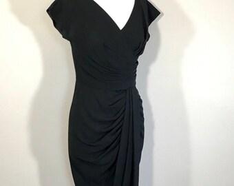 Vintage Dorothy O'Hare of California Black Cocktail Dress, Black Crape Wool Draped Dress, tuck pint  Metal Zipper Lined Bodice