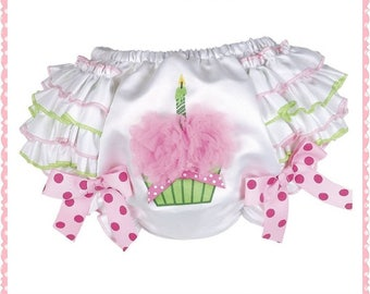 Super Cute, Birthday Bloomers, Cupcake, Ruffled Bloomers, Half Birthday, First Birthday, Girl Birthday