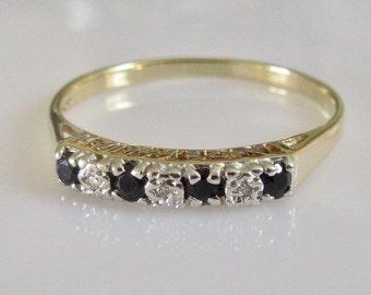9ct Gold Sapphire and Diamond No 1 MUM  Ring
