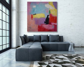 Extra Large Colorful Abstract Painting / Modern Art / Colorful Painting / Square Painting / Large Abstract Art / Yellow and Pink Art