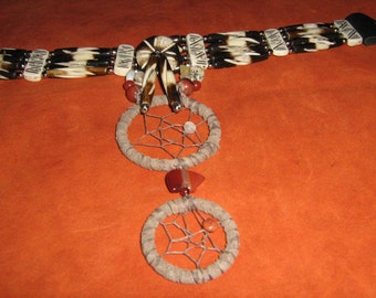 Bear Totem Hairpipe Choker Dreamcatcher necklace, tribal fusion native woven, earthtone genuine stones, handmade Mens and Womens jewelry